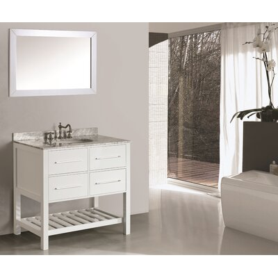 Cockrell 36 Single Bathroom Vanity Set with Mirror Base Finish: White
