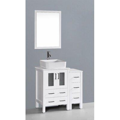 Brigantine 36 Single Bathroom Vanity Set with Mirror Base Finish: White