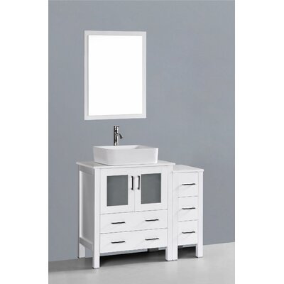 Brigantine 42 Single Bathroom Vanity Set with Mirror Base Finish: White