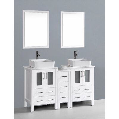 Netto 60 Double Bathroom Vanity Set with Mirror Base Finish: White