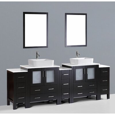 Brigantine 96 Double Bathroom Vanity Set with Mirror Base Finish: Espresso