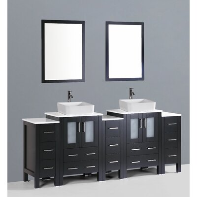 Netto 84 Double Bathroom Vanity Set with Mirror Base Finish: Espresso