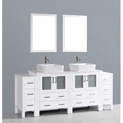 Netto 84 Double Bathroom Vanity Set with Mirror Base Finish: White
