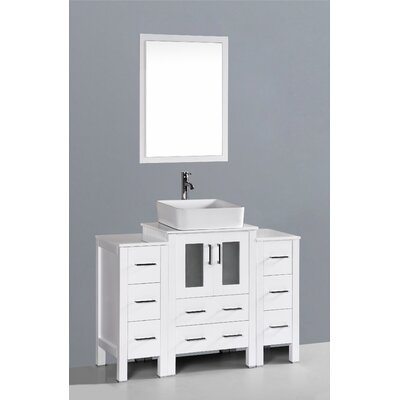 Brigantine 48 Single Bathroom Vanity Set with Mirror Base Finish: White