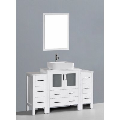 Netto 54 Single Bathroom Vanity Set with Mirror Base Finish: White