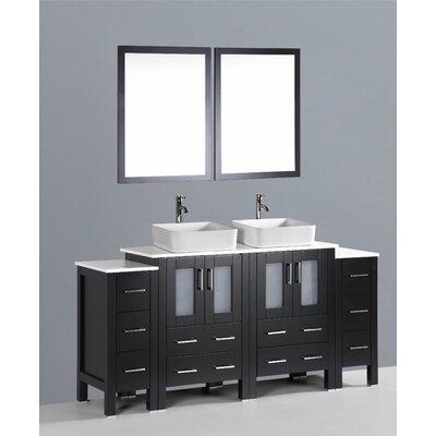 Brigantine 72 Double Bathroom Vanity Set with Mirror Base Finish: Espresso
