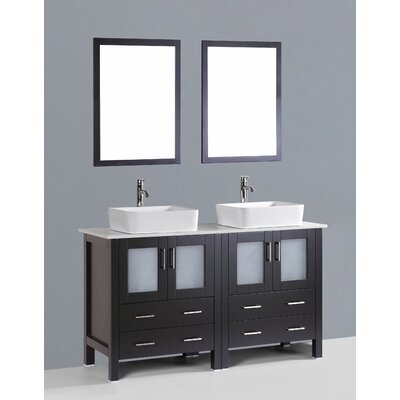 Brigantine 60 Double Bathroom Vanity Set with Mirror Base Finish: Espresso