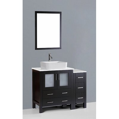 Brigantine 42 Single Bathroom Vanity Set with Mirror Base Finish: Espresso