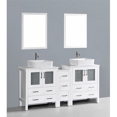 Netto 72 Double Bathroom Vanity Set with Mirror Base Finish: White