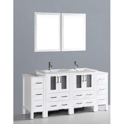 Netto 72 Double Bathroom Vanity Set with Mirror Base Finish: White