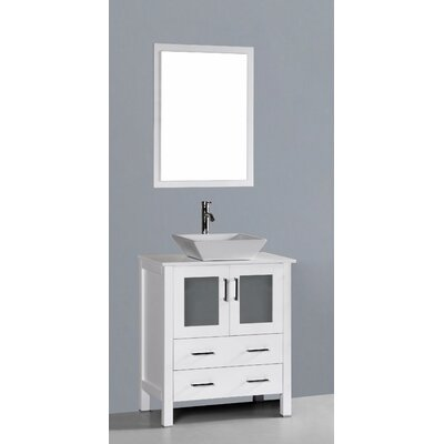 Contemporary 30 Single Bathroom Vanity Set with Mirror Base Finish: White