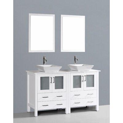 Netto 60 Double Bathroom Vanity Set with Mirror Base Finish: White