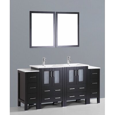 Netto 72 Double Bathroom Vanity Set with Mirror Base Finish: Espresso