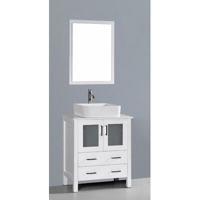 Netto 30 Single Bathroom Vanity Set with Mirror Base Finish: White