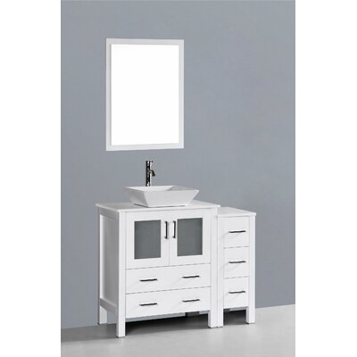 Netto 42 Single Bathroom Vanity Set with Mirror Base Finish: White