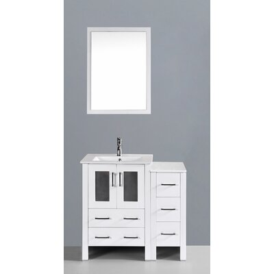 Contemporary 36 Single Bathroom Vanity Set with Mirror Base Finish: White