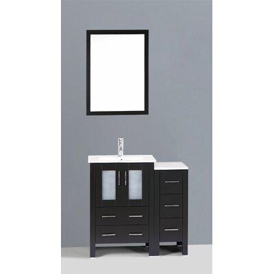Contemporary 36 Single Bathroom Vanity Set with Mirror Base Finish: Espresso