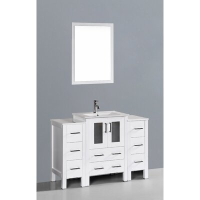 Contemporary 48 Single Bathroom Vanity Set with Mirror Base Finish: White