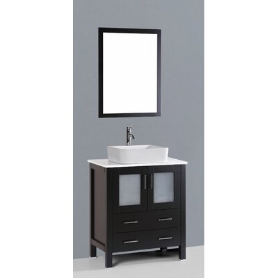 Netto 30 Single Bathroom Vanity Set with Mirror Base Finish: Espresso