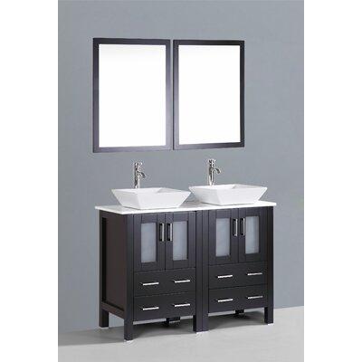 Brigantine 48 Double Bathroom Vanity Set with Mirror Base Finish: Espresso