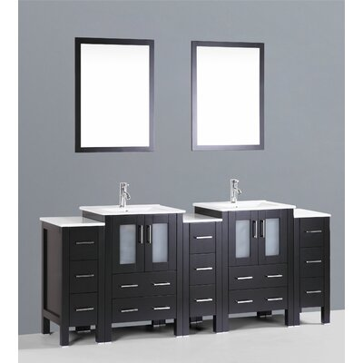 Netto 84 Double Bathroom Vanity Set with Mirror Base Finish: Espresso