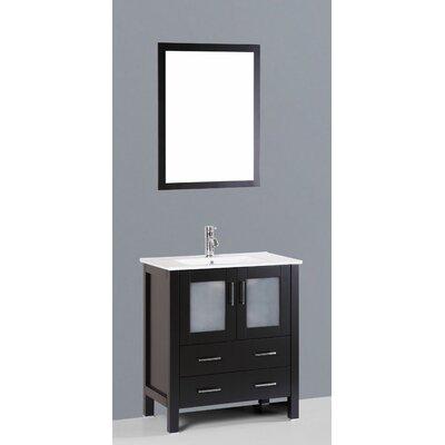 Contemporary 30 Single Bathroom Vanity Set with Mirror Base Finish: Espresso