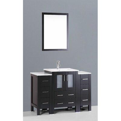Contemporary 48 Single Bathroom Vanity Set with Mirror Base Finish: Espresso