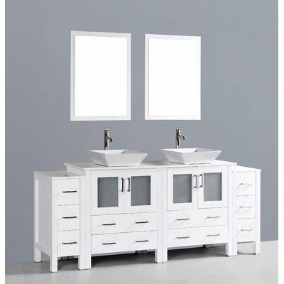 Netto 84 Double Bathroom Vanity Set with Mirror Base Finish: White