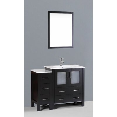 Netto 42 Single Bathroom Vanity Set with Mirror Base Finish: Espresso