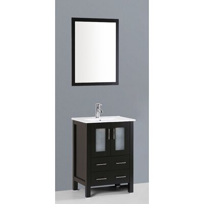 Netto 24 Single Bathroom Vanity Set with Mirror Base Finish: Espresso
