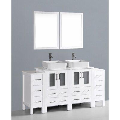 Brigantine 72 Double Bathroom Vanity Set with Mirror Base Finish: White