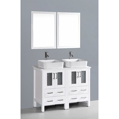 Netto 48 Double Bathroom Vanity Set with Mirror Base Finish: White
