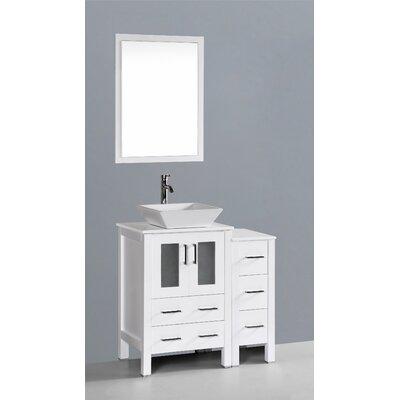 Netto 36 Single Bathroom Vanity Set with Mirror Base Finish: White