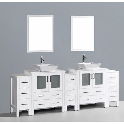Netto 96 Double Bathroom Vanity Set with Mirror Base Finish: White