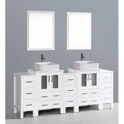 Brigantine 84 Double Bathroom Vanity Set with Mirror Base Finish: White