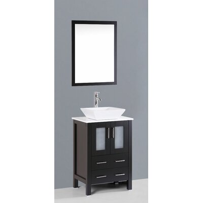 Netto 24 Single Bathroom Vanity Set with Mirror Base Finish: Espresso