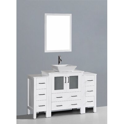 Brigantine 54 Single Bathroom Vanity Set with Mirror Base Finish: White