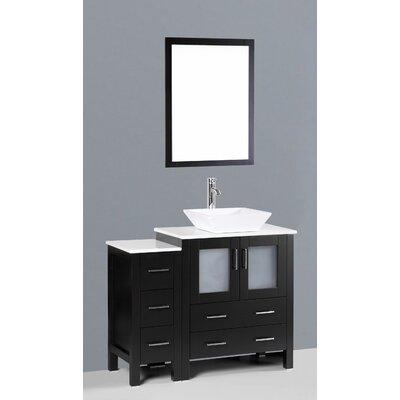 Brigantine 42 Single Bathroom Vanity Set with Mirror Base Finish: Espresso