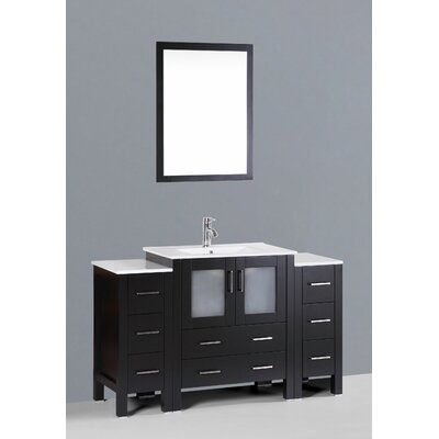 Brigantine 54 Single Bathroom Vanity Set with Mirror Base Finish: Espresso