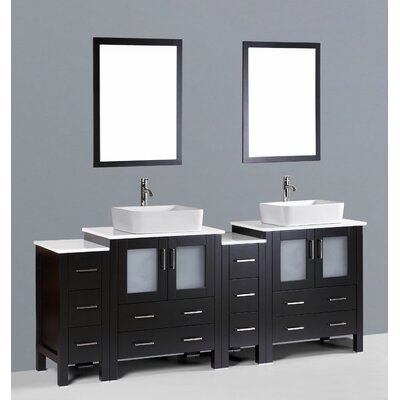 Brigantine 84 Double Bathroom Vanity Set with Mirror Base Finish: Espresso