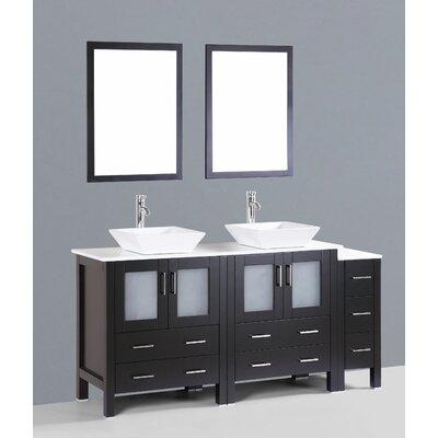 Netto 72 Double Bathroom Vanity Set with Mirror Base Finish: Espresso
