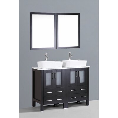 Netto 48 Double Bathroom Vanity Set with Mirror Base Finish: Espresso