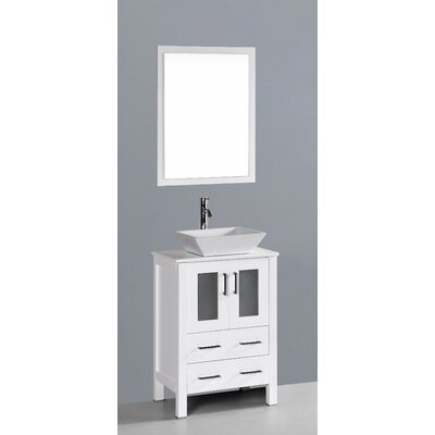 Netto 24 Single Bathroom Vanity Set with Mirror Base Finish: White