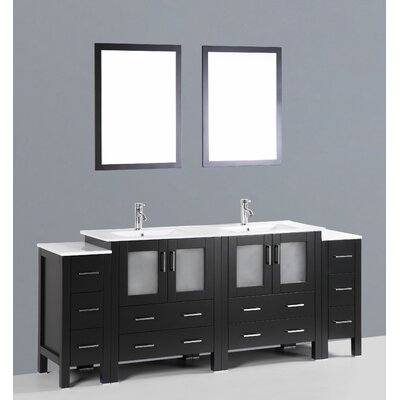 Netto 84 Double Sink Bathroom Vanity Set with Mirror Base Finish: Espresso