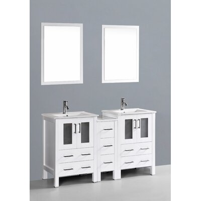 Brigantine 60 Double Bathroom Vanity Set with Mirror Base Finish: White