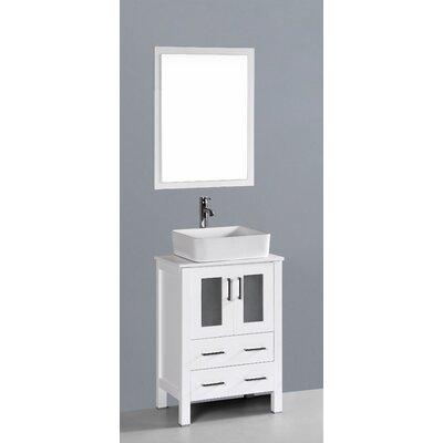 Netto 24 Single Bathroom Vanity Set with Mirror Base Finish: White