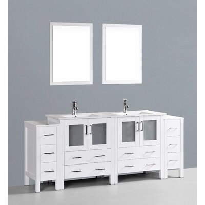 Netto 84 Double Sink Bathroom Vanity Set with Mirror Base Finish: White