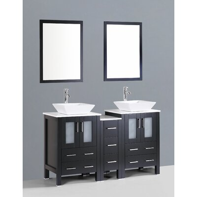 Netto 60 Double Bathroom Vanity Set with Mirror Base Finish: Espresso