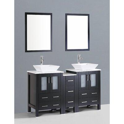 Brigantine 60 Double Bathroom Vanity Set with Mirror Base Finish: Espresso