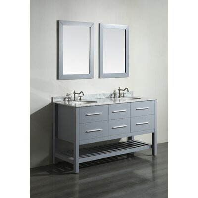 Cockrell 60 Double Bathroom Vanity Set with Mirror Base Finish: Grey